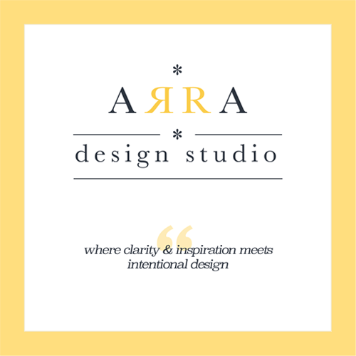ARRA design studio's main logo and motto on a business brochure page