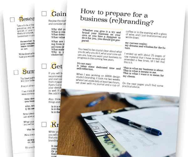 sample pages from the ebook How to prepare for a business branding
