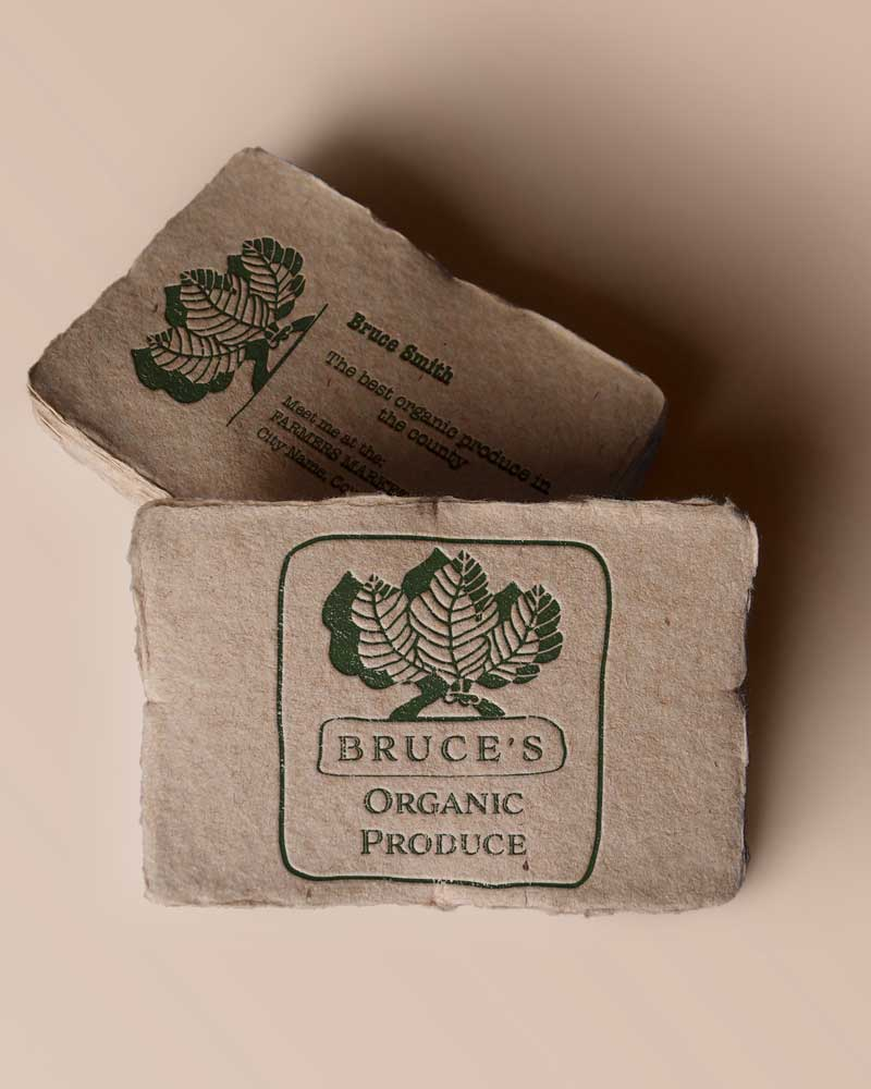 recycled paper business card example for Bruce's Organic Produce