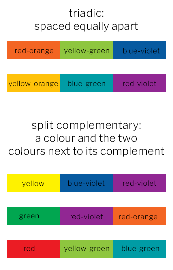 triadic and split complementary colour scheme examples