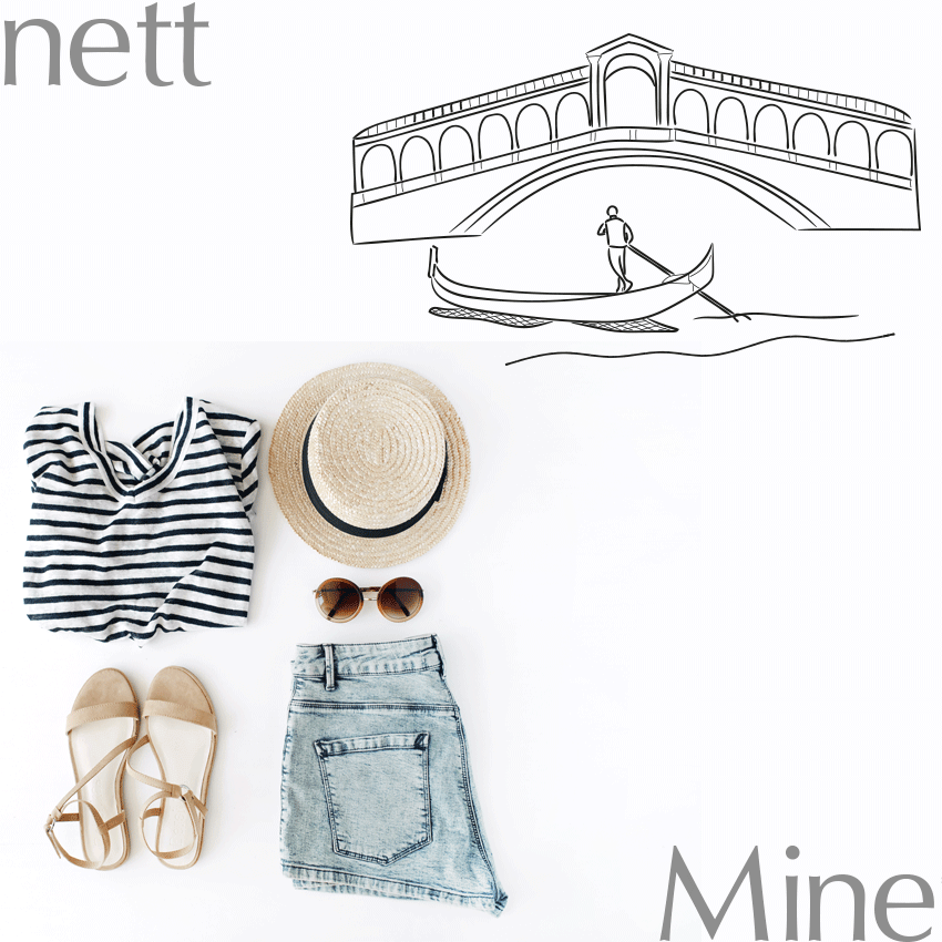 a shirt, short, summer hat and sandals on white surface with an illustration of Venice with a gondola