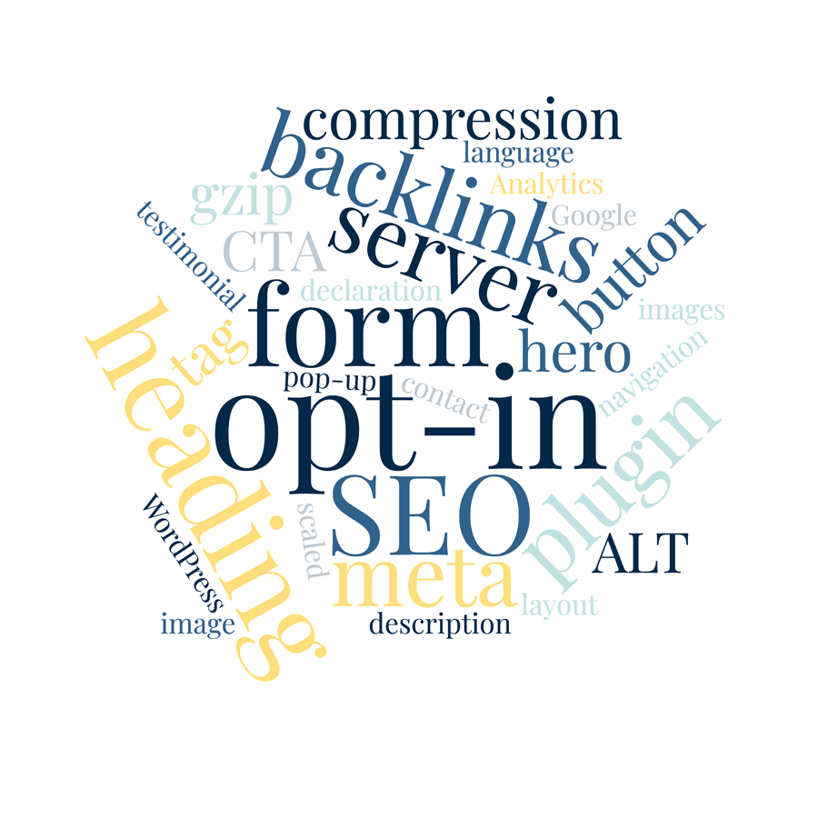website audit criteria arranged as a word cloud graphic