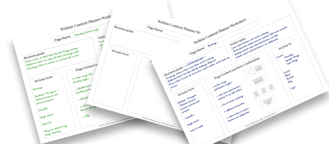 mockup image of the website content planner worksheets