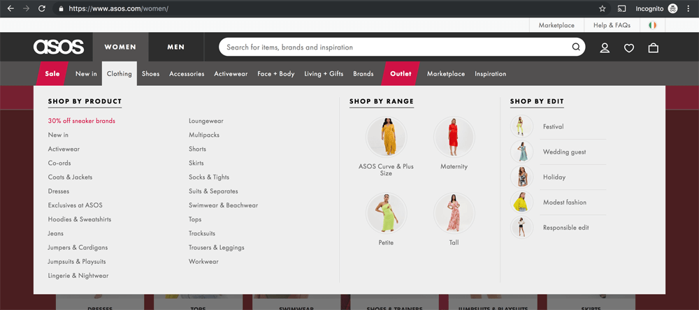 screenshot of Asos' mega menu design
