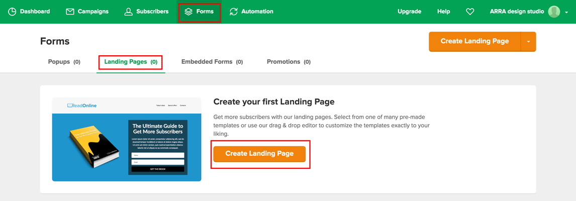 create landing page option in MailerLite