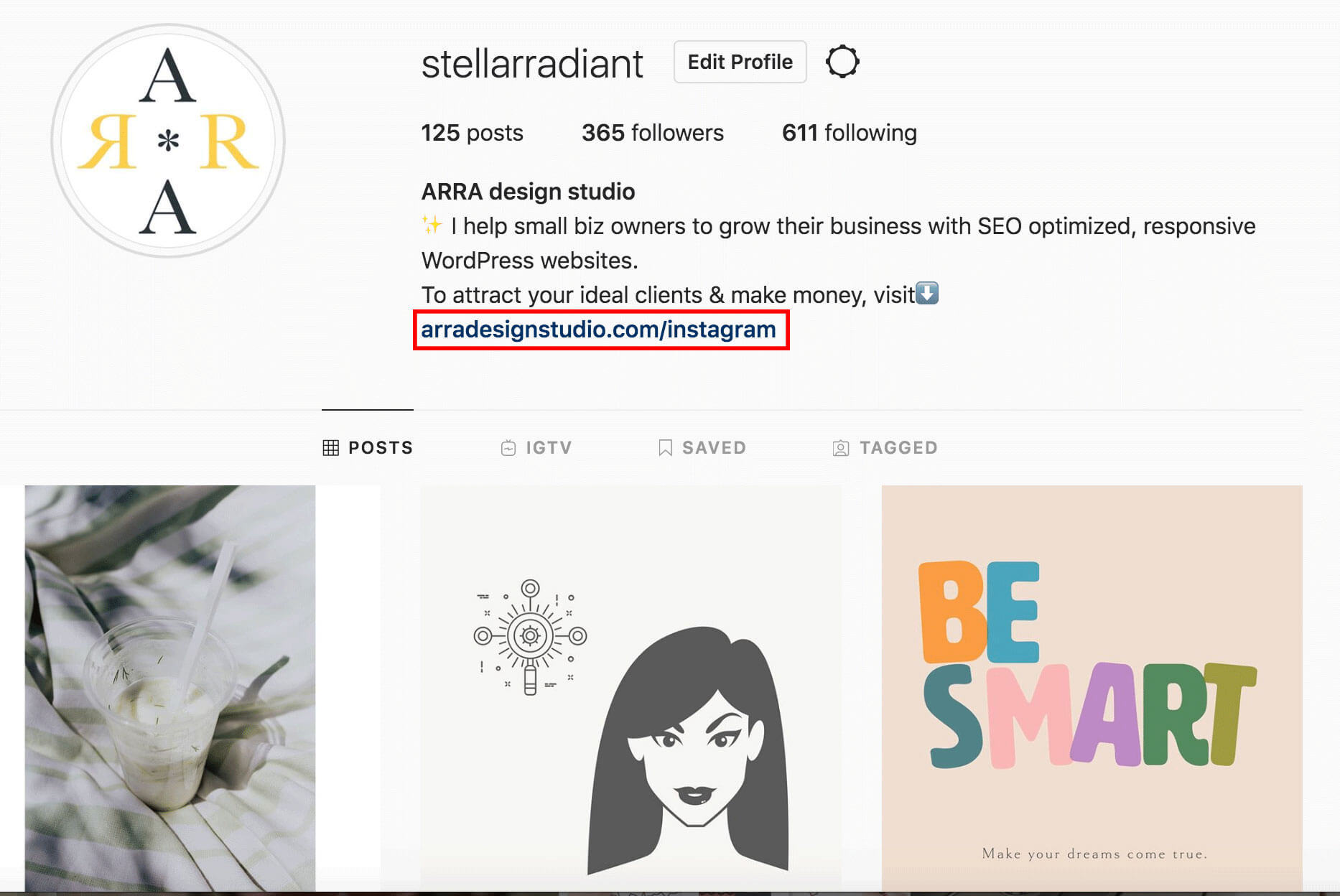 screenshot of ARRA design studio's Instagram bio and post feed