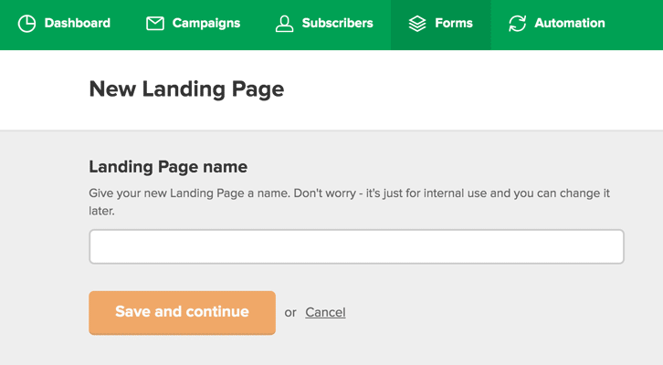 define landing page name in MailerLite