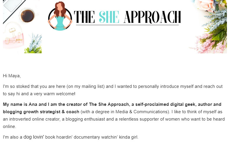 welcome email example from the she approach website