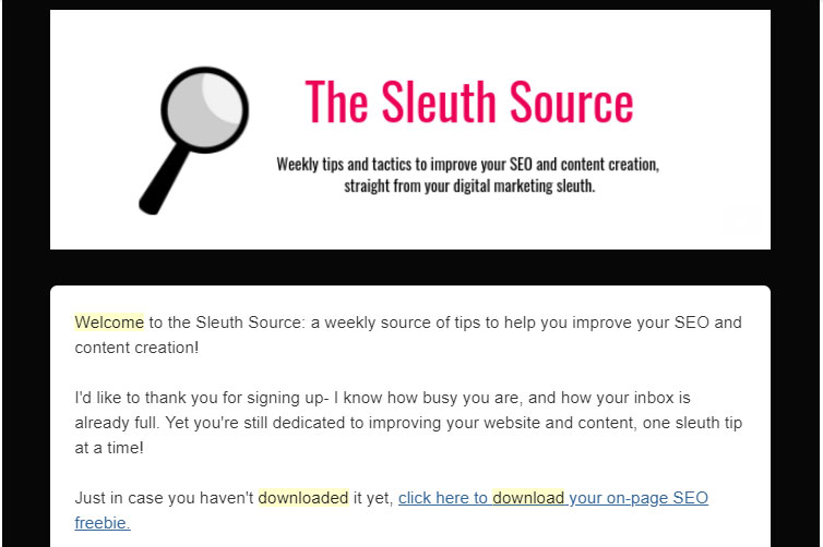 welcome email example from the sleuth source
