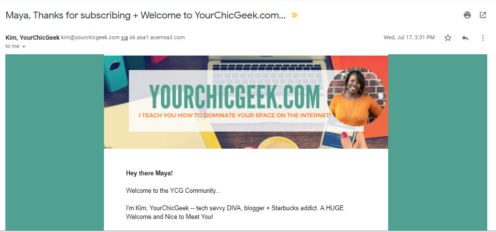 welcome email screenshot from yourchickgeek