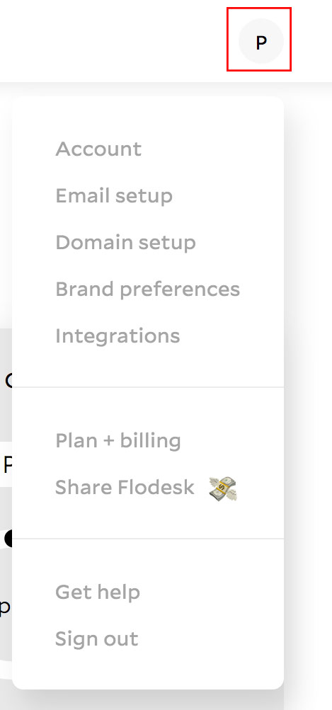 Flodesk account settings menu