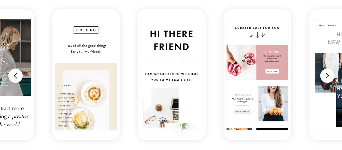 Flodesk email templates on mobile screens