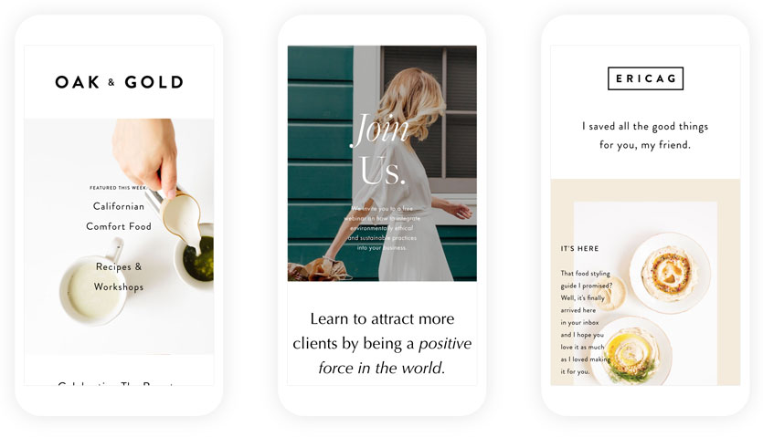 email template samples on Flodesk homepage
