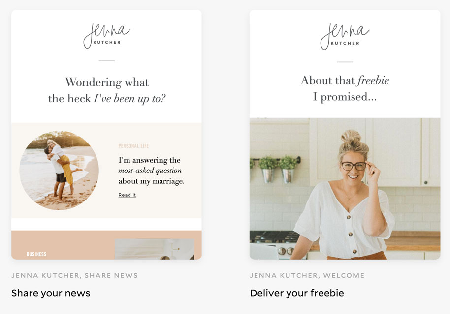 Jenna Kutcher email templates in Flodesk email template gallery