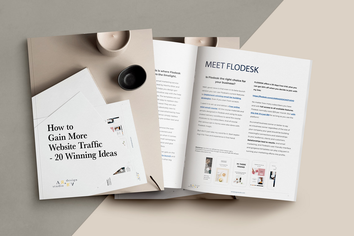 mockup image for bonus bundle web design quick starter guide materials