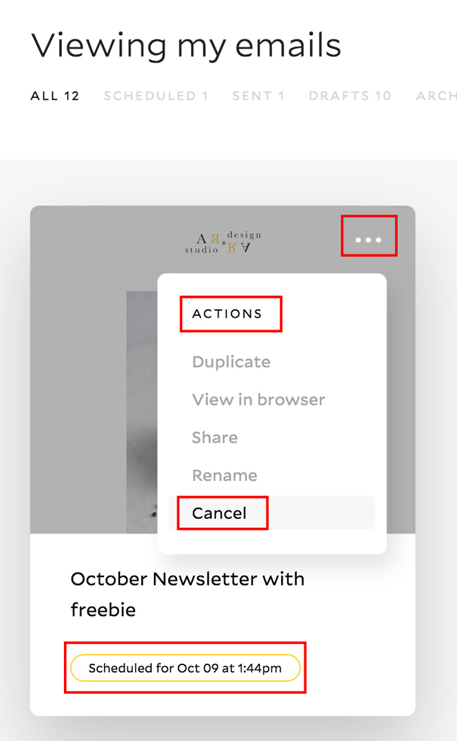 cancel scheduled email in Flodesk