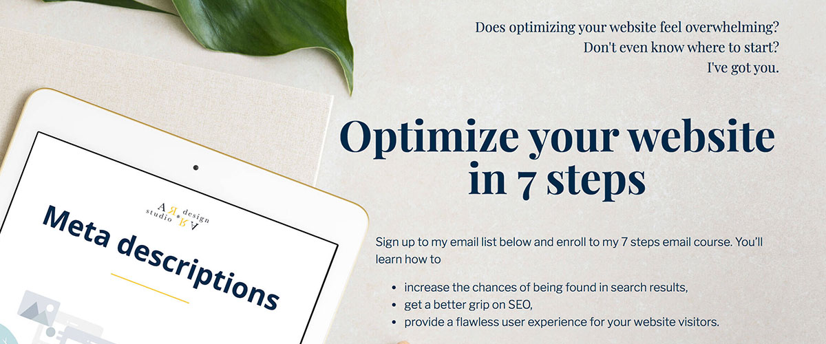 optimize your website email mini course promotional graphic