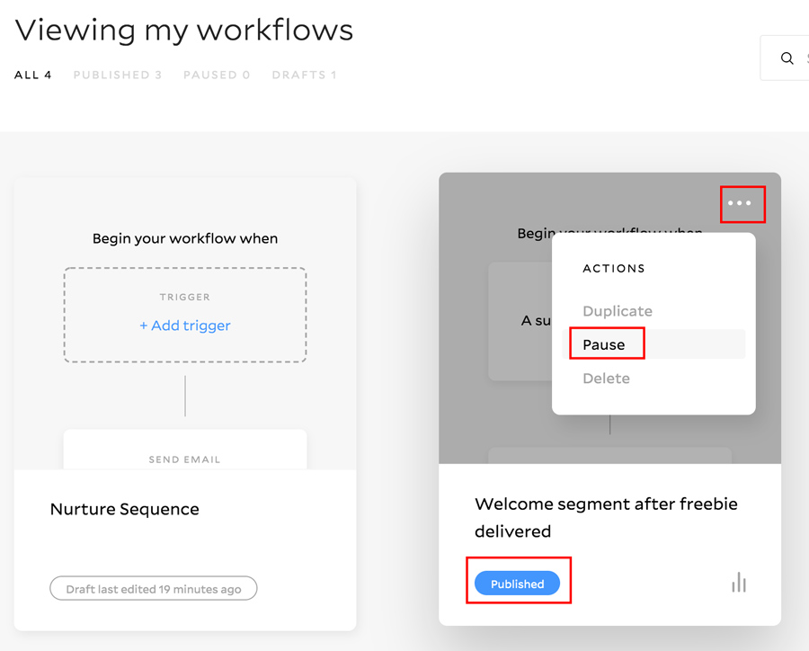 pause workflow in Flodesk