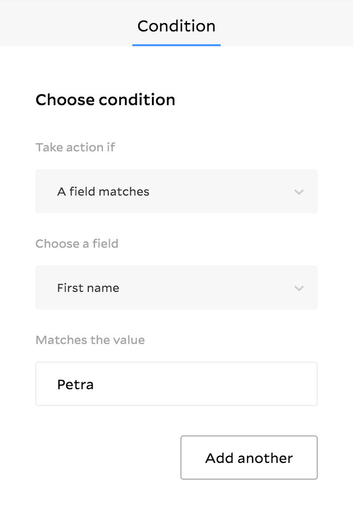 Condition workflow feature in Flodesk showing panel to select when a custom field matches criteria
