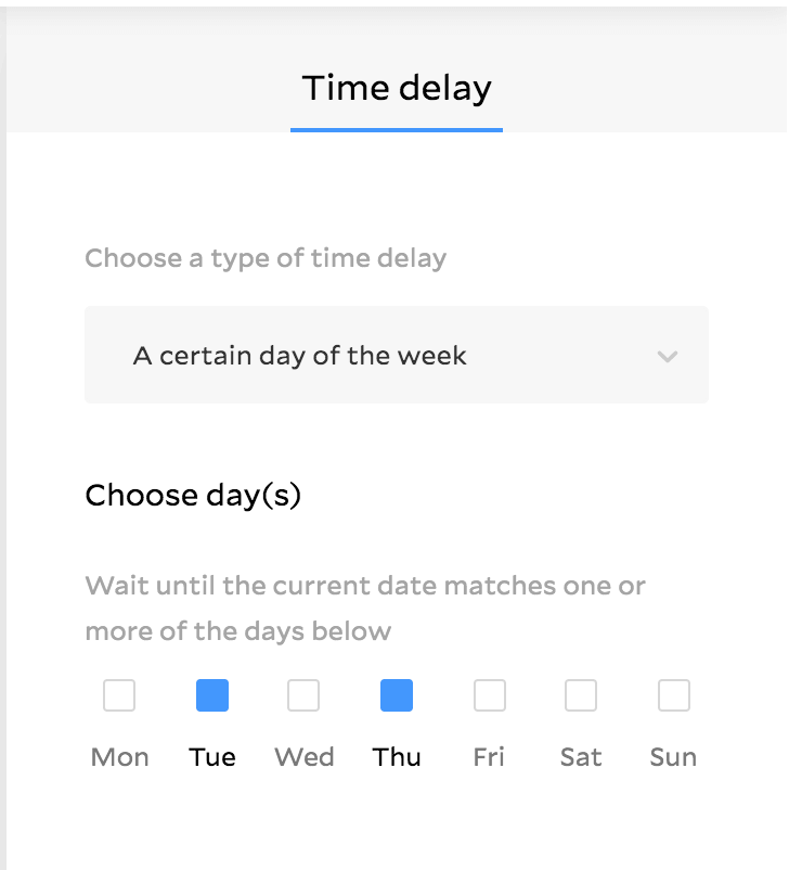 Time delay workflow feature in Flodesk showing panel to select a certain day of week