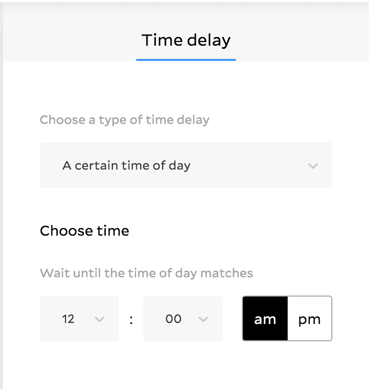 Time delay workflow feature in Flodesk showing panel to select a certain time of day