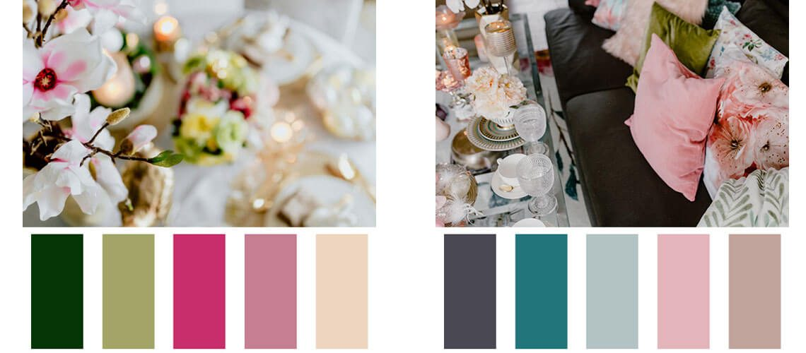 4 free colour palettes with HEX codes