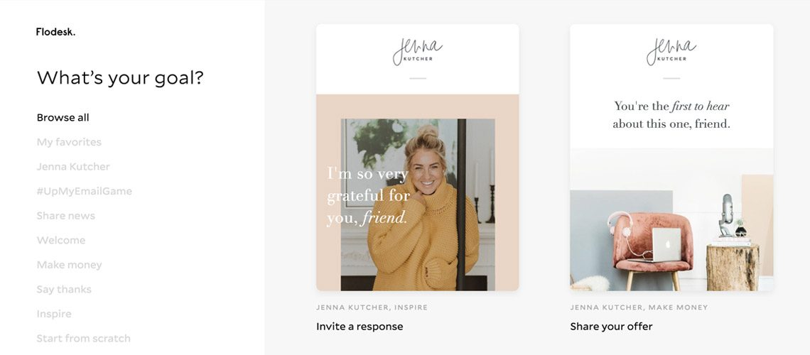 Jenna Kutcher email template samples in Flodesk